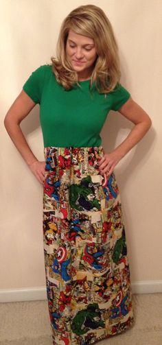 Women's Green Marvel Comic Tee Shirt Top Maxi Dress  S  M. $65.00, via Etsy.