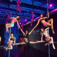 """Pole Picture of the Day: Submitted by Jessica Anderson-Gwin from Jagged Vertical Dance & Fitness. Featuring Nadia Sharif, Veronika Pole, Pole by Mina, and Sasja Lee. """"Everybody wants a piece of Sasja."""" #BKPPOD #BadKittyPride  Submit your photos here: www.badkitty.com/submit"""