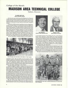"""Madison College named """"College of the Month"""" in JUCO Review (October, 1988)"""