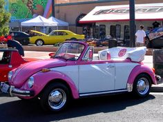 """This """"Pretty in Pink"""" 1976 VW Superbeetle Convertible was on display at the """"Super Run Car Show"""" in Henderson Nevada. The owner is Monica Lucches"""