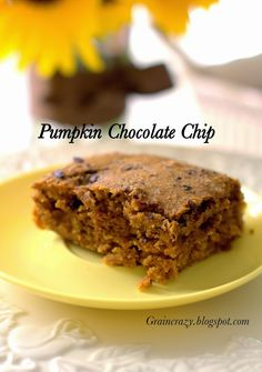 Grain Crazy: Moist Pumpkin Chocolate Chip Bars (no added sugar) So good. Great snack or dessert. Whole grain