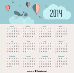 2014 Calendar Baby Announcement and Balloons in the Sky