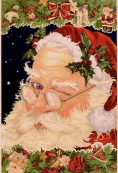 christmas cards, vintage christmas, vintage santas, artworks, wink santa