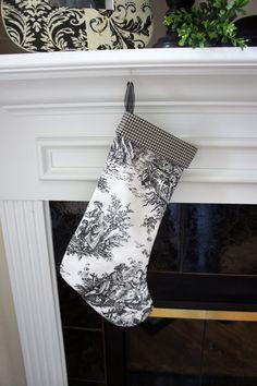 Christmas Stocking ~ Black and White Toile