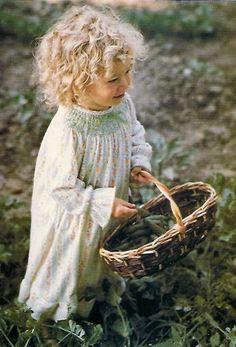 smocked dresses, little girls, little ones, country girls, basket