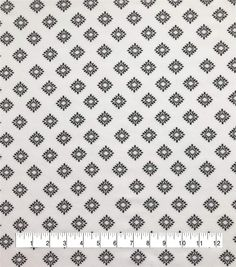 Silky Stretch Chiffon Fabric White Black Diamonds,
