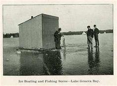 Ice boating & fishing on Lake Geneva Bay
