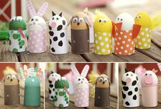 animals, toilet paper rolls, farms, easter crafts, easter eggs