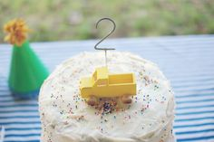 noah's 2nd birthday by caseybaudoin, that yellow pickup! pickup trucks, little cakes, boy party, simple cakes, cake decorations, baby birthday, 2nd birthday, kid birthday parties, birthday cakes