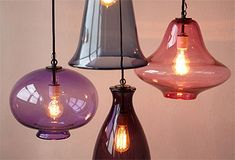 Beautiful colored pendant lights...would be so pretty clustered over a table or in an entryway