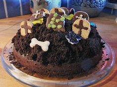 Halloween Food - Grave Yard cake is awesome for your party and will be a surprise for all your guests. Decorate the cake and make it look like a grave yard.