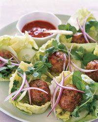 Joyce's Vietnamese Chicken Meatballs in Lettuce Wraps with Red Onions
