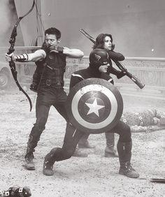 Hawkeye, Black Widow, and Captain America