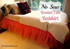 No Sew Beaded Tutu Bedskirt...tutorial at FreeStylinBeth.com