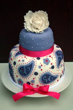 Paisley birthday cake with sugar peony