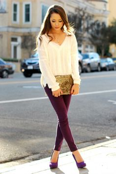 Hapatime: Comfy Cardigan, Victoria's Secret Lace Bralette, Purple Skinny Jeans, Suede Heels and Gold Sequin Clutch. What a cute outfit!!!