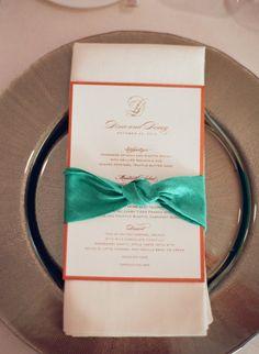 knot bow ribbon + menu wrap