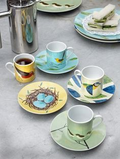 The Birdy Range cups and saucers by Linda Barker
