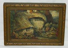 "GLENN F. BASTIAN American Artist ENGLISH COTTAGE Miniature OIL PAINTING Miniature Overall size 7"" X 5"" on Board, circa 1934. It is in excellent condition with a wonderful scene of a single English Cottages a lawn of beautiful flowers. Housed in its original antique frame in great condition! I do not see a signature on the painting, could be under the edge of the frame. Original label on the reverse identifying the artist and title of the piece, dated 1934. SOLD US $54.99"