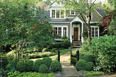 . garden curb appeal, cottage gardens, exterior colors, front yards, boxwood, beauti, atlanta, dream houses, natural beauty
