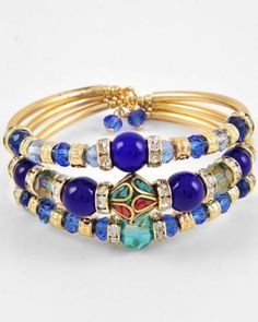 Blue Stone Crystals turquoise and Coral inlay Cuff Bracelet $19.00