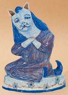 A seated nun cat (2004). Hylton Nel. 27cm tall.