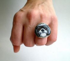 Custom Pet Portrait Hand Painted Pebble Ring , Personalized Jewelry