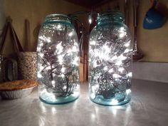 lights in mason jars - I've seen them in wine bottles but never mason jars, very cool