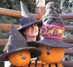 Enchanting & Magical Witch Hat. Knit & felted.