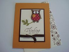 Stampin Up: Owl Builder Punch. Simple design. Could use nature walk stamp set to sit the owl on.