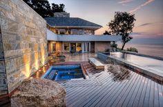 ZEN-Pool-Water-Dusk in New England Landscape Architecture by ZEN Associates; Home built by Merz Construction