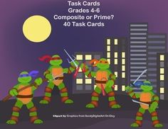 This is a great way to offer your class practice and review. The collection includes 40 task cards that review prime and composite numbers while engaging your students with a fun ninja turtle theme. There are 40 cards, student worksheet and an answer key included.