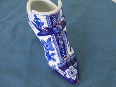 Vintage Blue And White Floral Porcelain Shoe Home by BitofHope
