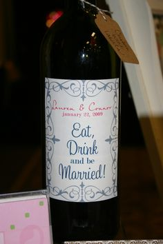 Custom Wine Bottle Labels Set of 12 - Perfect for Weddings, Rehearsal Dinners, Favors, Gifts & More. $15.00, via Etsy.