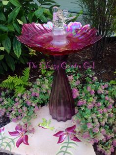 Glass bird bath - garden art - The Glassy Garden Gal