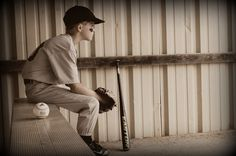 """A baseball photo idea in place of the """"stand in the field and hold your bat"""" photo they make all of the players do. Memories By Merica"""