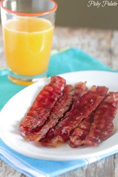 Candied Raspberry Baked Bacon