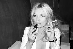 cigarettes, fashion, kate, kate moss, lipstick