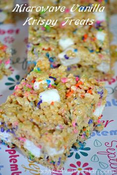These easy to make Microwave Vanilla Krispy Treats have a few changes. Like everyone I have been making Rice Krispy Treats since the beginning of time and I decided to make some for my granddaughters FULL OF SPRINKLES! You know my motto EVERYTHING is better with SPRINKLES!