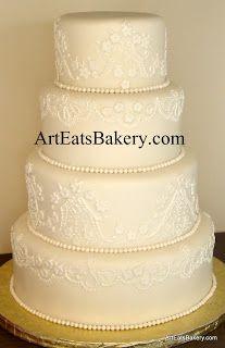 Ribbons & Pearls Wedding Cake Designs - Art Eats Bakery Greenville - Spartanburg's SC Premier Cake Boutique