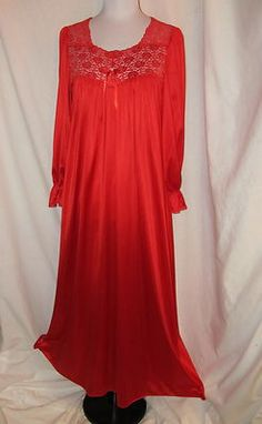 Sz S 80's Vintage Bright Red Vanity Fair Nightgown Lace Long Sleeves Full Length