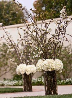 Altar Arrangement white flowers, wedding arrangements, centerpiec, wedding altars, wedding ceremony flowers, branch, white weddings, white wedding flowers, cherry blossoms