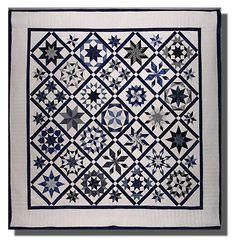 Lemoyne Star Sampler, blue and white quilt by Marsha Bray