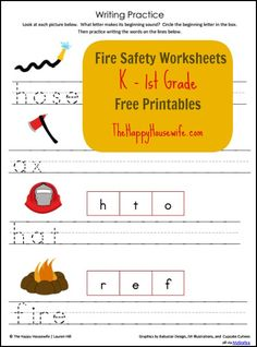 4-page set of Fire Safety Worksheets for K-1st Graders