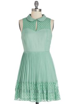 Fashionably Date Dress - Chiffon, Woven, Short, Mint, Solid, Peter Pan Collar, Pleats, Casual, Vintage Inspired, A-line, Sleeveless, Good, C...