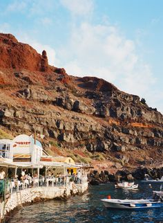 The rocky coastline of Santorini
