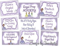 Party Signs- Sofia the First, Printable  DIY, INSTANT DOWNLOAD, 8.5 x 11