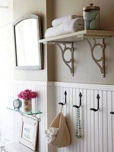 Small bathroom wainscoting - love the hooks and the high shelf