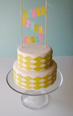 clotheslines, baby shower cakes, peep cake, cake decorations, easter cake, babies clothes, yellow cakes, baby showers, cake toppers
