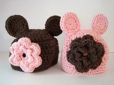 Crochet Baby Hats Twin Baby Hats Bear Hats Girl by Monarchdancer, $38.00